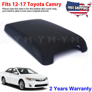 Fits 2012 2017 Toyota Camry Leather Center Console Lid Armrest Cover Black