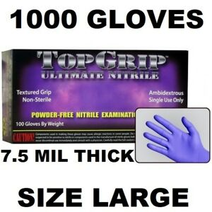 Topgrip Heavy Duty Nitrile Gloves Powder Free 7 5 Mil Full Case Size Large