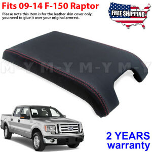 Armrest Center Console Lid Cover Leather For Ford F150 Raptor 09 14 Red Stitch