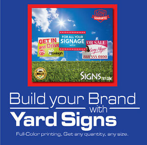 18 X 24 5 Yard Sign Custom Double Sided Print Full Color Metal Stakes