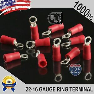 1000 Pack 22 16 Gauge 10 Stud Insulated Vinyl Ring Terminals Tin Copper Core Us