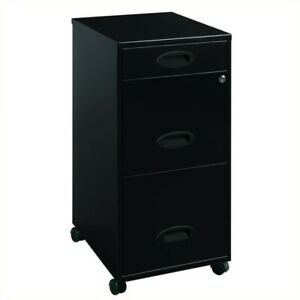 Hirsh Industries Soho Mobile 3 Drawer File Cabinet In Black