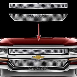 2016 2018 Chevy Silverado 1500 Chrome Grille Overlay Front Grill Covers Inserts