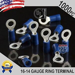 1000 Pack 16 14 Gauge 10 Stud Insulated Vinyl Ring Terminals Tin Copper Core Us