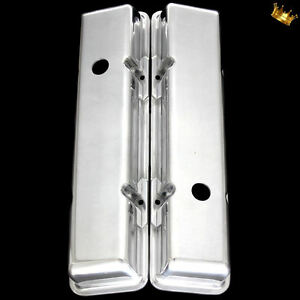Polished Aluminum Small Block Chevy Short Valve Covers For 327 350 383 400 Sbc