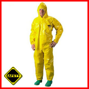 Xl Chemmax 4 Tyvek Chemical Hazmat Coverall Suit With Hood Safety Case Of 6