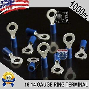 1000 Pack 16 14 Gauge 1 4 Stud Insulated Vinyl Ring Terminals Tin Copper Core