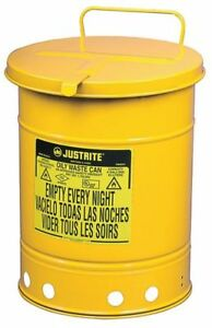 Oily Waste Can 14 Gal steel yellow Justrite 09511