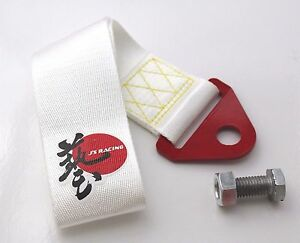 J S Racing Jdm Universal Tow Strap Tow Hook Ribbon White