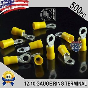 500 Pack 12 10 Gauge 10 Stud Insulated Vinyl Ring Terminals Tin Copper Core Us