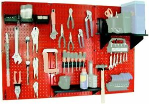 32 x48 Metal Pegboard Workbench Tool Storage Organizer Kit Powder Coated Panel