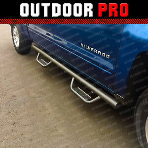 For 07 18 Chevy Silverado Crew Cab Blk Matte Side Steps Running Boards Nerf Bar