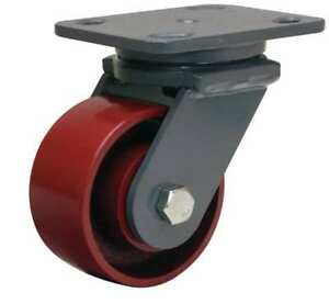 Plate Caster swivel cast Iron 4 In 1000 Lb rd S wh 4mb 4sl fb