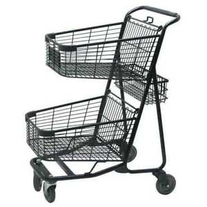 Zoro Select Rwr ver 5050bk Two Tier Shopping Cart 29 In L 300 Lb