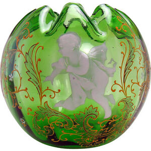 Hand Painted Enameled Green Glass Rose Bowl With Angel