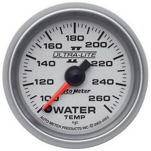 Autometer 4955 Ultra lite Ii Electric Water Temp 100 260 Deg Gauge 2 1 16