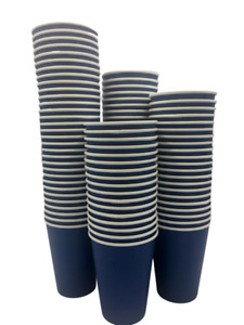 Navy Blue Party Paper Cups 4 8 12 16oz Coffee Tea Disposable Lid Cold Hot Drinks