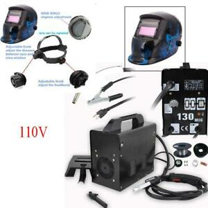 Practical Mig 130 Gas Less Flux Core Wire Feed Welding Machine Welder Helmet