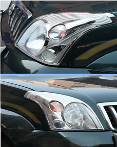 2pcs Chrome Front Head Light Lamp Cover Trim For Toyota Prado Fj120 2003 2009