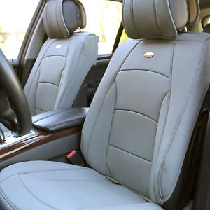 Leather Auto Seat Covers Cushion Pad Front Buckets Suv Sedan Van Solid Gray
