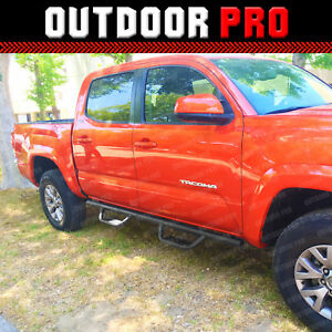 05 18 For Toyota Tacoma Double Cab Side Matted Steps Nerf Bars Running Boards