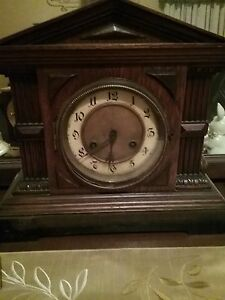 Antique Wooden Clock Winds Up With Key