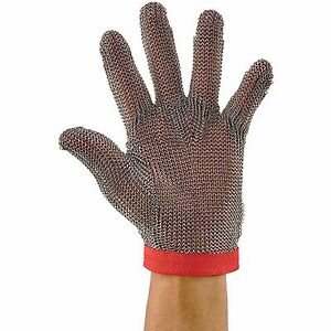 Winco Reversible Medium Red Protective Rust resistant Stainless Steel Mesh Glove