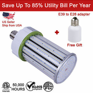 100w E39 Led Corn Bulb Lamp Light Cool White Super Bright With Free Adapter