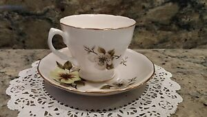 Crown Royal Tea Cup And Saucer Bone China Set With Lenten Roses Made In England