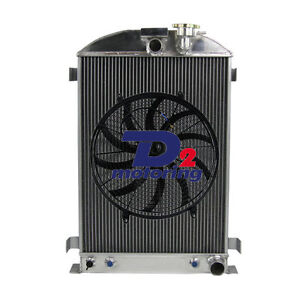 3row Aluminum Radiator 16 Fan For Ford Model A Chevy V8 Engine 1930 1931