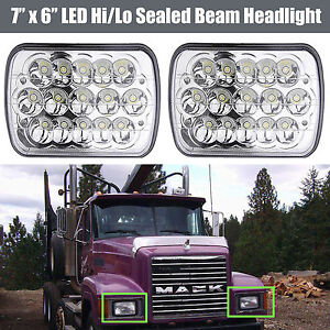 For Mack Truck2pcs 7x6 Led Headlight Hi Lo Beam H6054 H6014 H6052