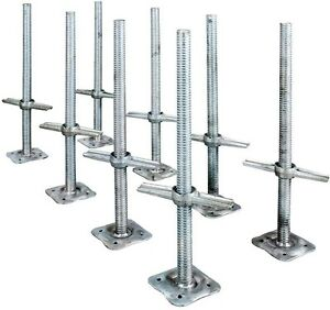 Adjustable 24 Inch Leveling Scaffolding Steel Screw Jack And Base Plate 8 Pack