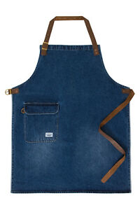 Uskees Chorlton Denim Bib Apron Stonewash Chef Waiter Barista Apron Leather St