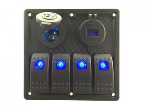 Iztoss 12v 24v Dc 4 Gang Waterproof Marine Blue Led Switch Panel With Power Sock