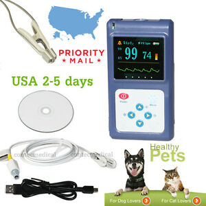Cms60d Pets Pulse Oximeter Veterinary Heart Rate Monitor Tongue ear Sensor sw us