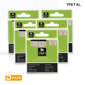 5pk Red On Clear Tape Label Compatible For Dymo 40912 D1 9mm 7m 3 8 X 23
