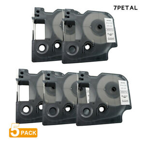 5pk D1 Tape Cartridge 45010 Black clear 12mmx7m For Dymo Label Manager Printers