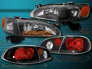 1998 2000 Toyota Corolla Headlights Corner Lights Tail Lights Black 98 99 00