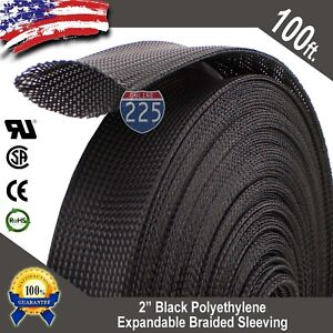 100 Ft 2 Black Expandable Wire Cable Sleeving Sheathing Braided Loom Tubing
