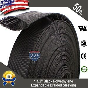 50 Ft 1 1 2 Black Expandable Wire Cable Sleeving Sheathing Braided Loom Tubing