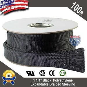 100 Ft 1 1 4 Black Expandable Wire Sleeving Sheathing Braided Loom Tubing 32mm