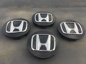Set Of 4 Oem Acura Honda Tsx Tl Rsx Rl Mdx Black Chrome Logo Finish Center Caps