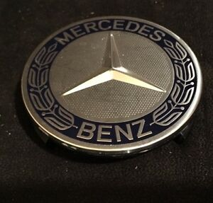 Genuine Oem Mercedes Benz Star With Blue Laurel Wreath Wheel Insert Cap 1pc Only