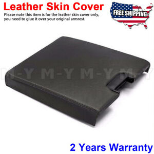 Leather Center Console Lid Bench Cover Silverado Sierra Yukon 07 14 Az3 Black