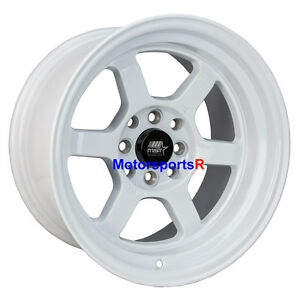Mst Wheels Time Attack Rims 15 X 8 0 White 4x100 Stance Toyota Yaris Xr 05 Mrs