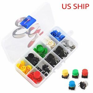 Tactile Push Button Switch Momentary Tact Cap 12x12x7 3mm Assorted Kit Arduino