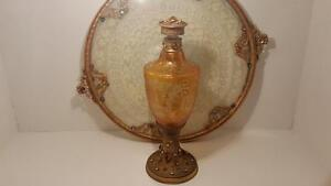 Fine Antique Jeweled Perfume Gold Ormolu Amber Glass Bottle Austrian Bohemain