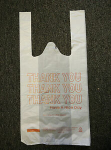 Small T shirt Bag Bags White Thank You 8 x4 x16 25 50 100 150 200 250 300 400