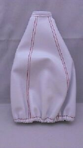 Apc Gear Shift Shifter Boot Cover White Red Pvc Leather Stitching Universal Jdm