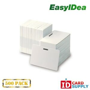 Pack Of 500 White Cr80 Standard Size Pvc Cards With Slot Punch On Long Side By E